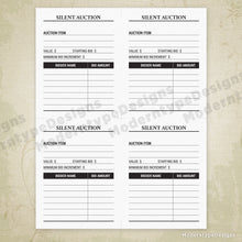 Load image into Gallery viewer, Silent Auction Bid Sheet Printable for 4.25 x 5.5""