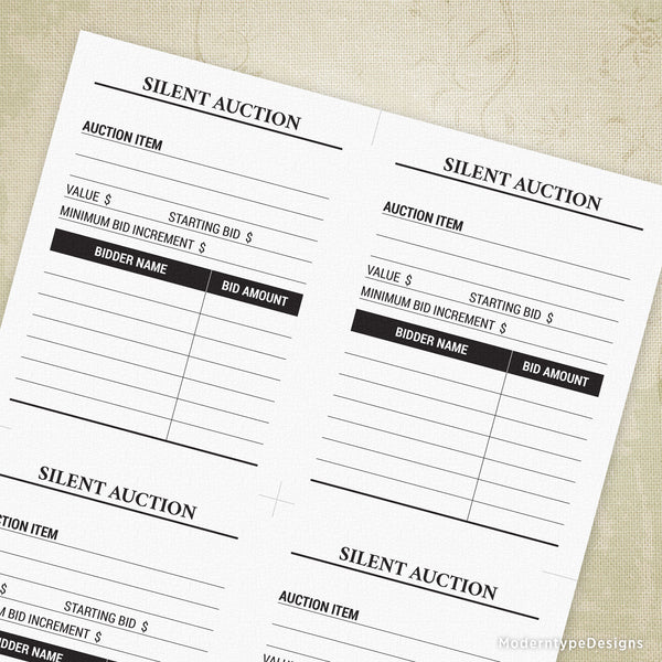 Silent Auction Bid Sheet Printable for 4.25 x 5.5""