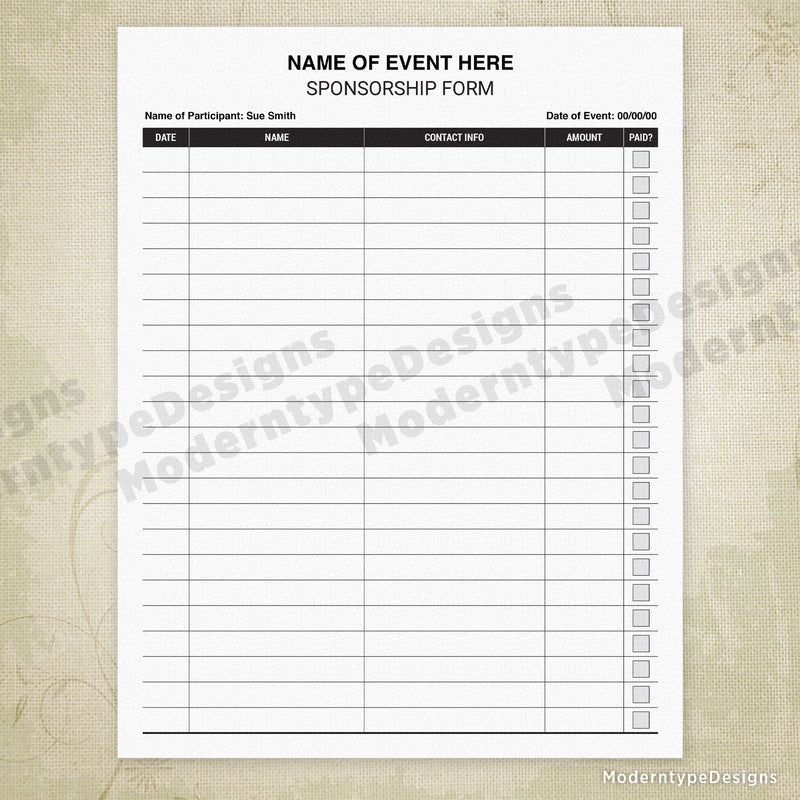 Sponsorship Sign Up Printable Form (editable)