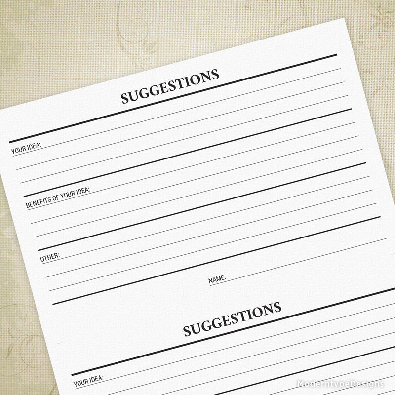 Suggestions Form Printable