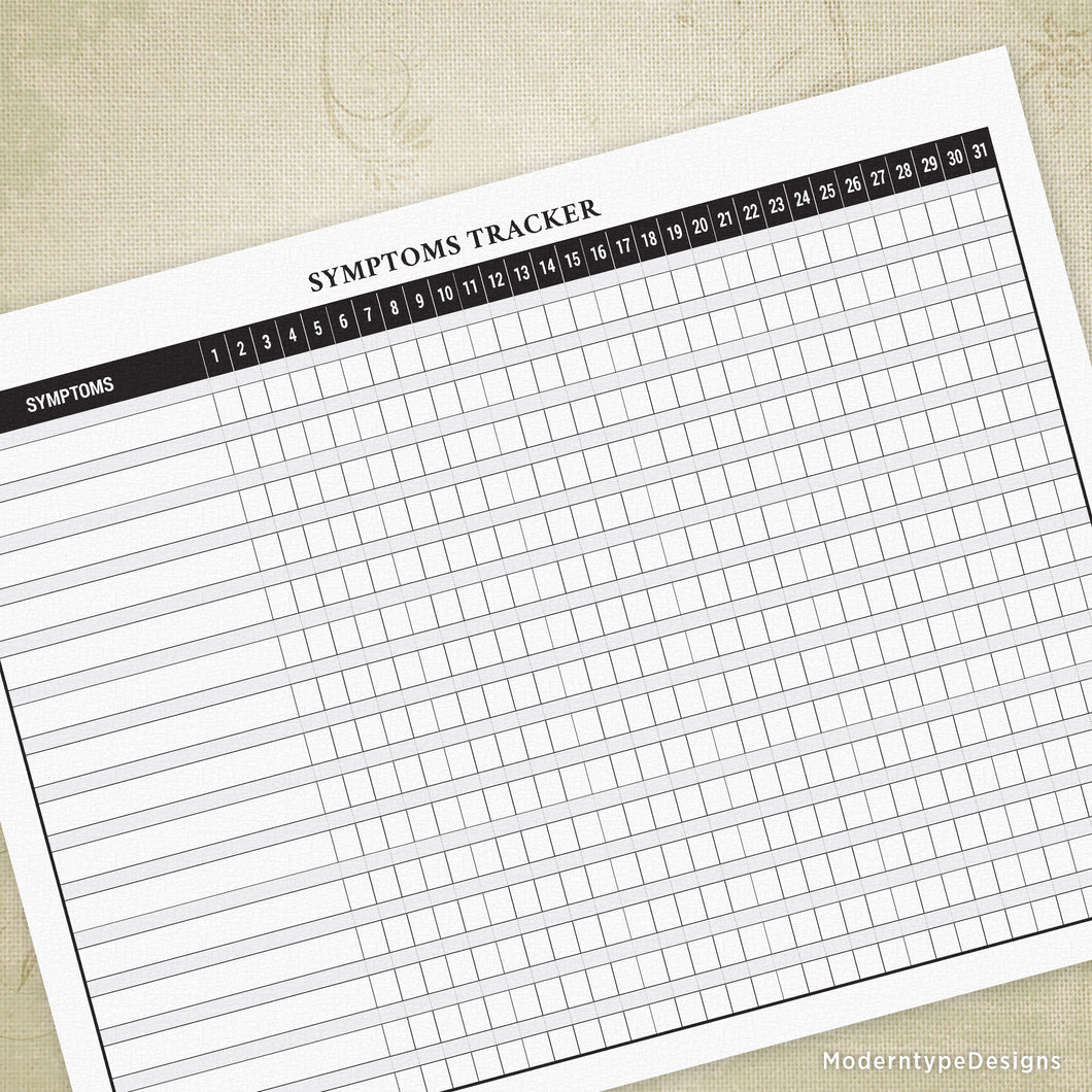 Symptoms Tracker Printable Form