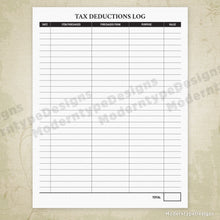 Load image into Gallery viewer, Tax Deductions Log Printable