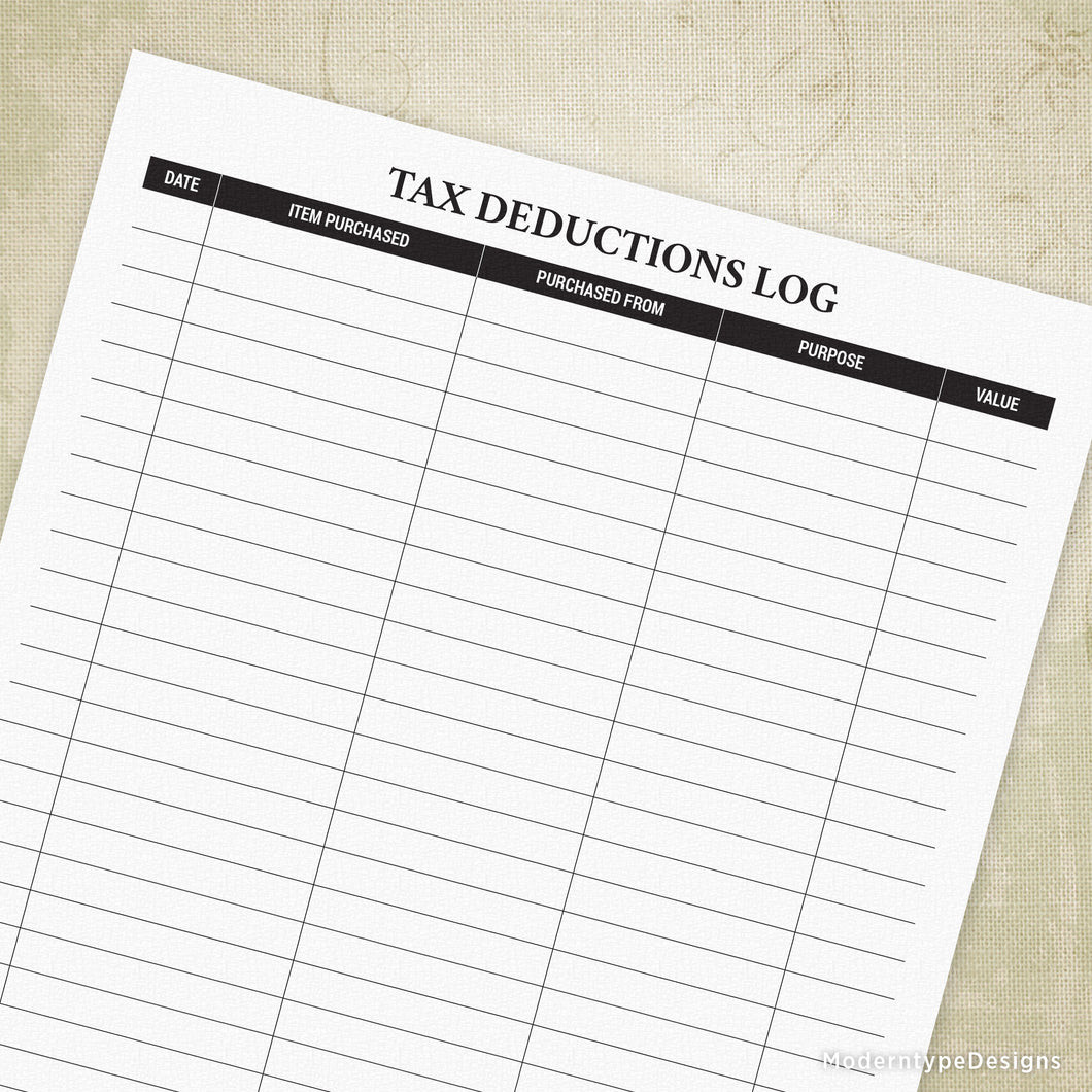 Tax Deductions Log Printable