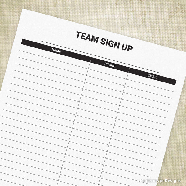 Team Sign Up Printable