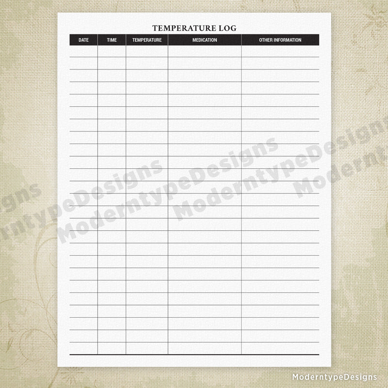 Temperature Log Printable Form