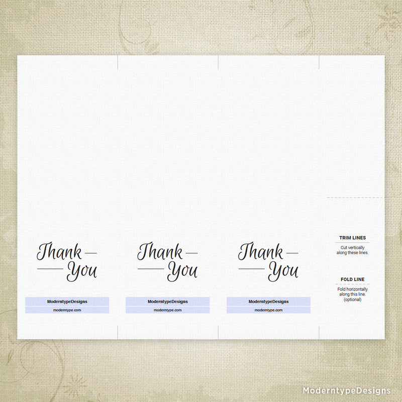 "Thank You Card Printable for 3 x 8.5"" (editable)"