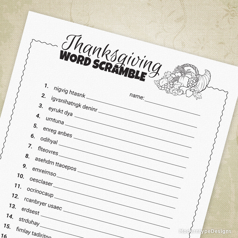 Thanksgiving Word Scramble Game Printable