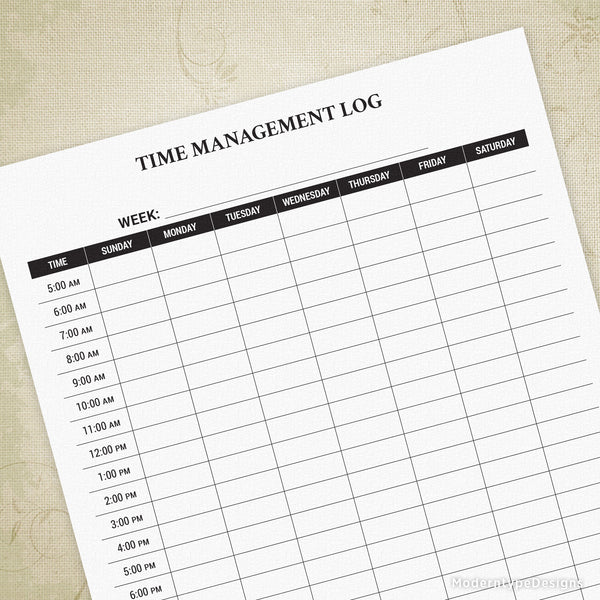 Time Management Log Printable