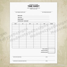 Employee Time Sheet Printable Form (editable)