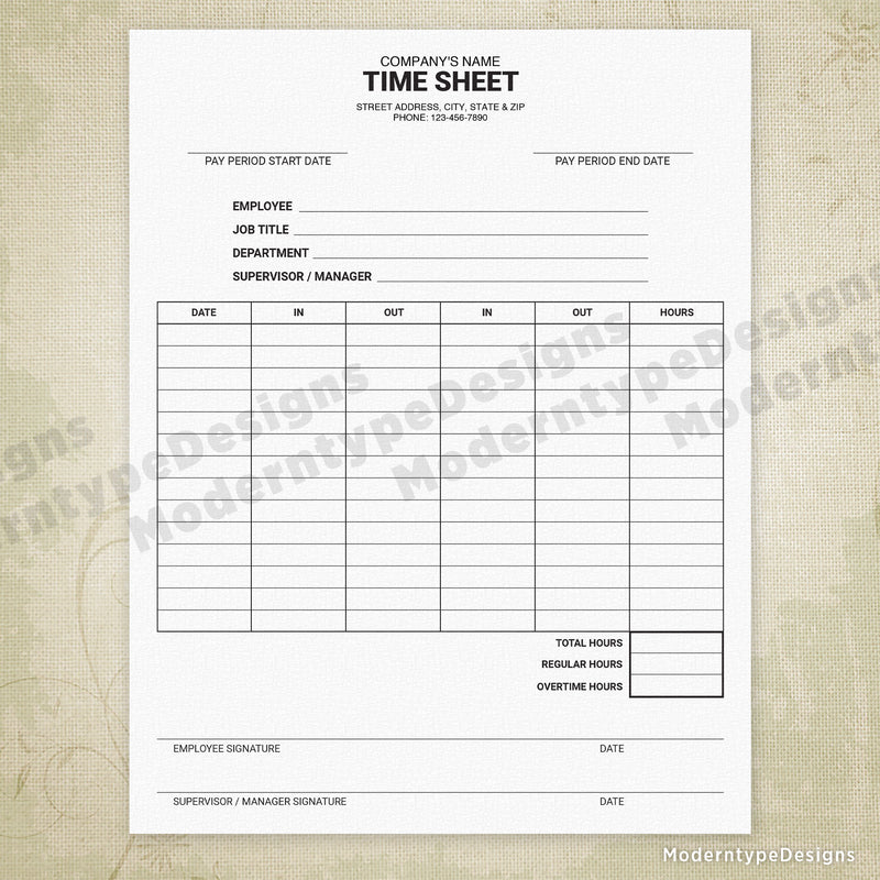 Employee Time Sheet Printable Form (personalized)
