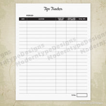 Tips Tracker Printable
