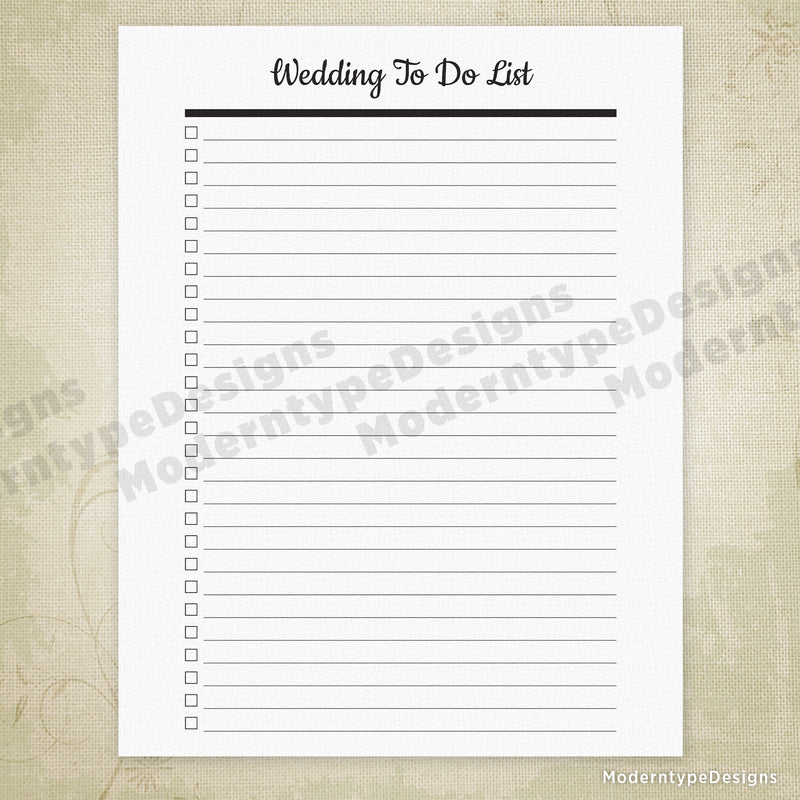 Wedding To Do List Printable