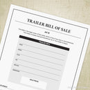 Trailer Bill of Sale Printable
