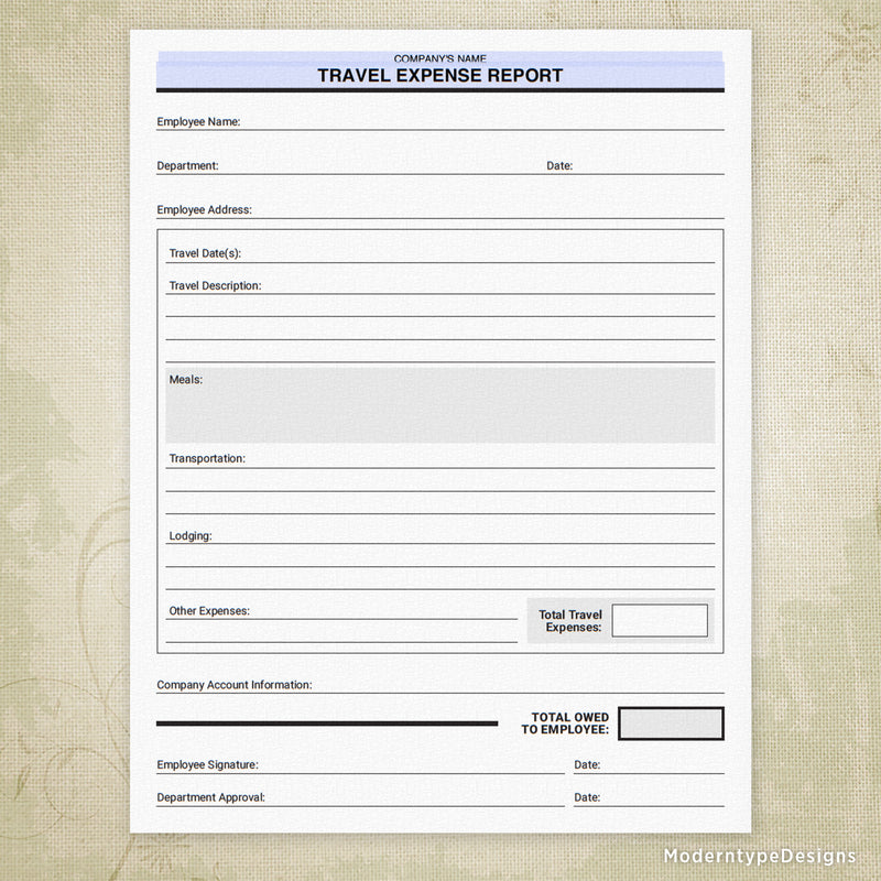 Travel Expense Report Printable Form (editable)