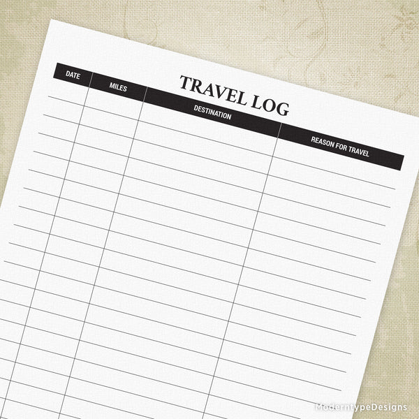 Travel Log Printable