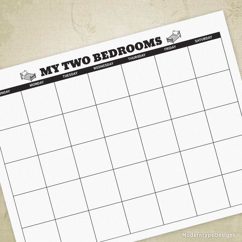 My Two Bedrooms Custody Calendar Printable
