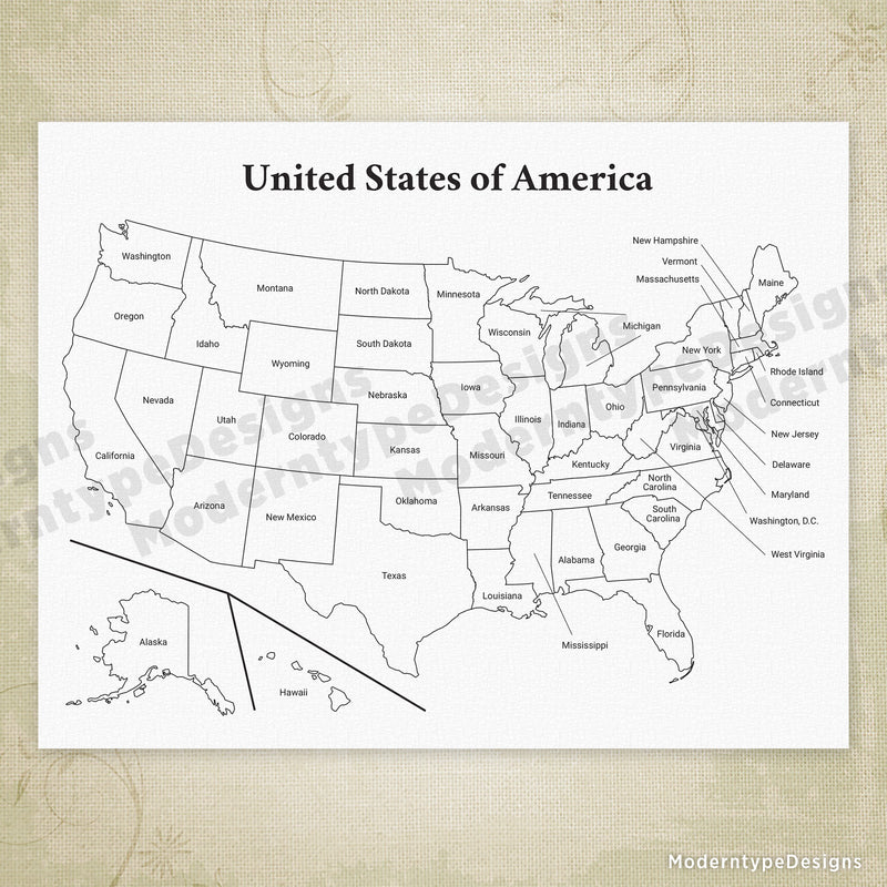 USA Printable Map, United States of America