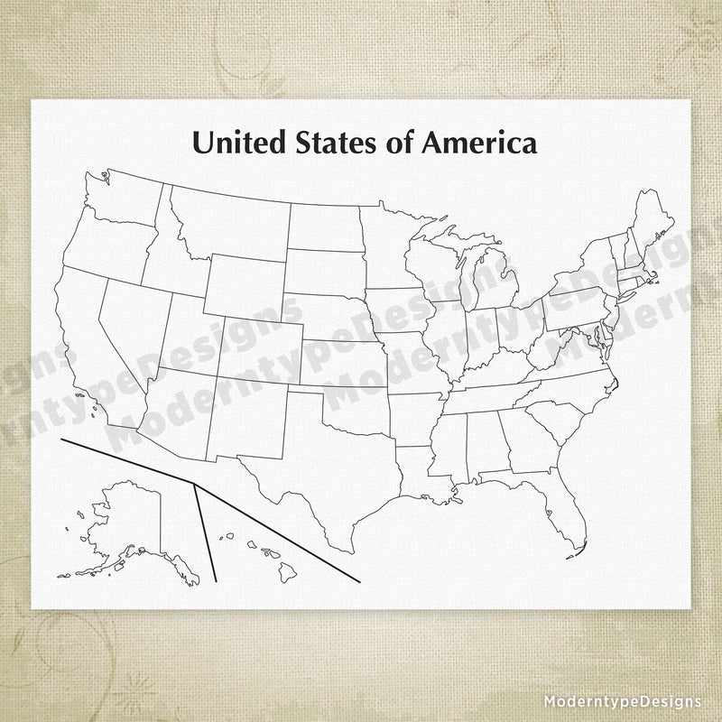 USA Printable Map - Blank, United States of America