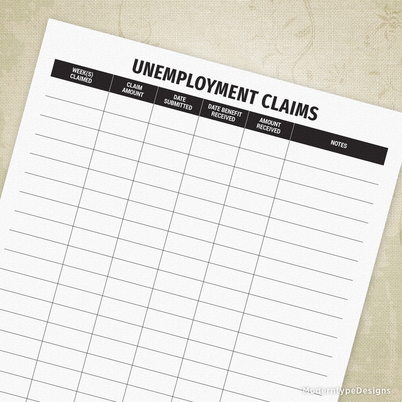 Unemployment Claims Log Printable