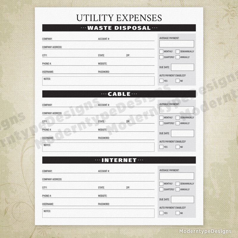 Utility Expenses Printable - End of Life