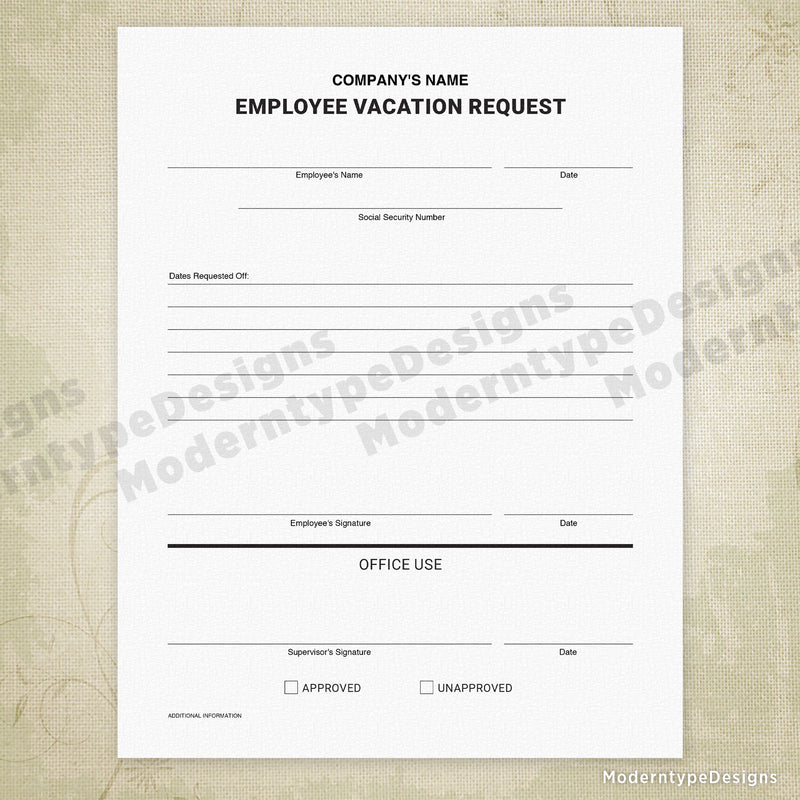 Employee Vacation Request Printable Form (personalized)