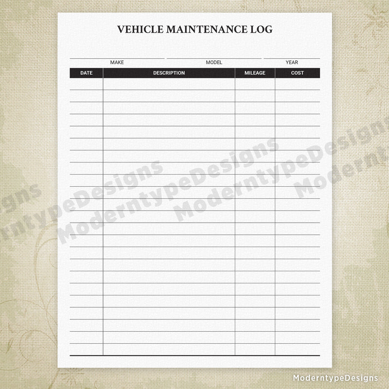 Vehicle Maintenance Log Printable