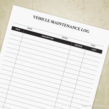 Load image into Gallery viewer, Vehicle Maintenance Log Printable