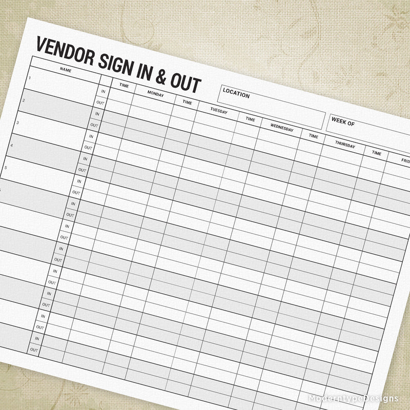 Vendor Sign In & Out Printable