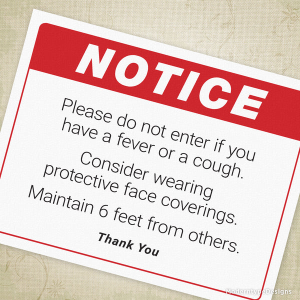 Notice to Visitors or Customers Social Distancing Printable Sign