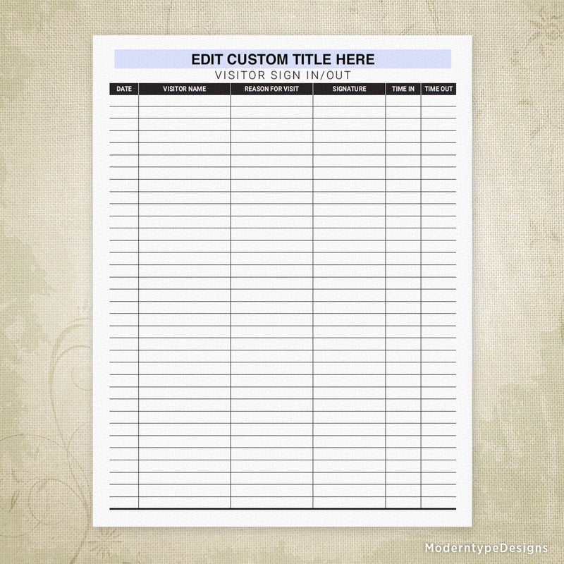 Visitor Sign In and Out Sheet Printable Form (editable)