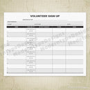 Volunteer Sign Up Printable