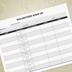 Volunteer Sign Up Printable Form