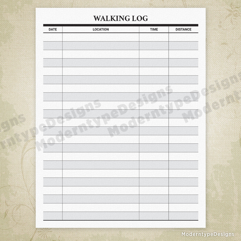 Walking Log Printable