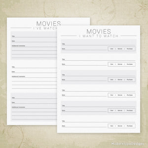 Movies I've Watched Printable