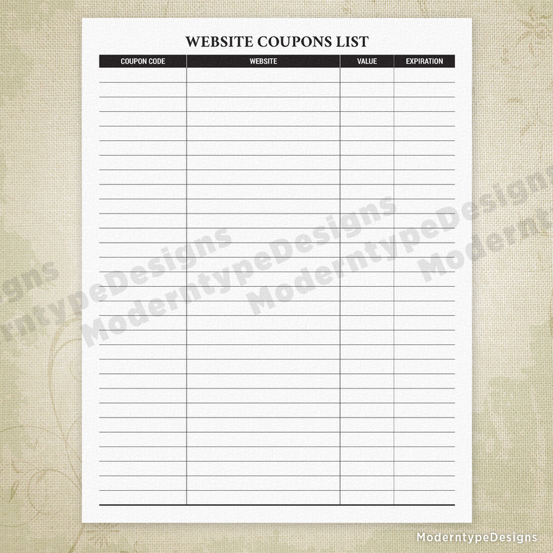 Website Coupons List Printable