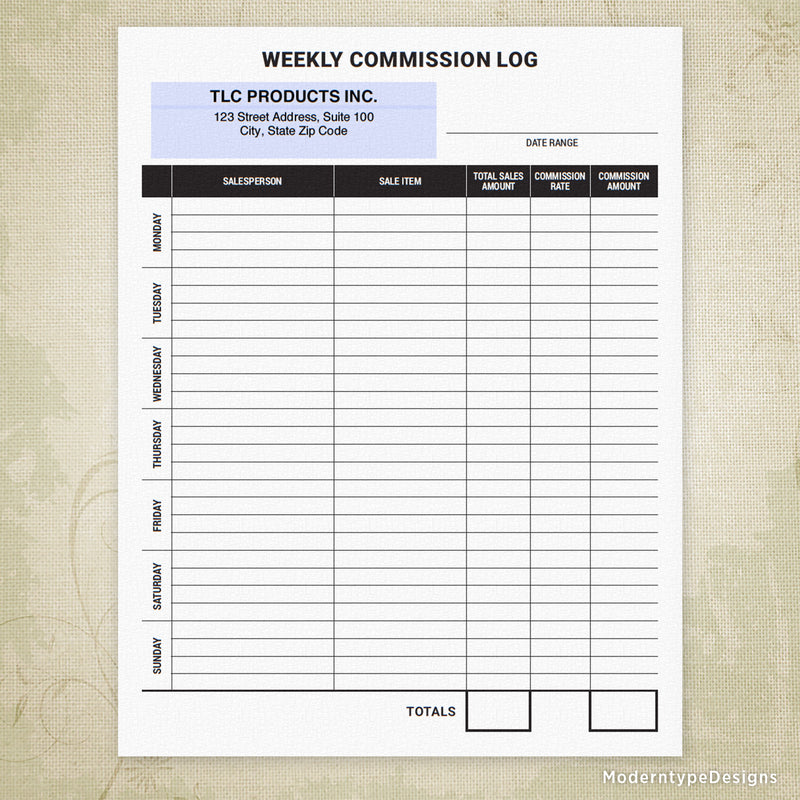 Weekly Commission Log Printable Form (personalized)