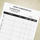 Weekly Commission Log Printable Form (editable)