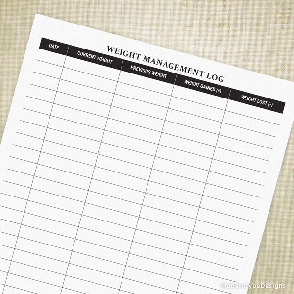 Weight Management Printable Log