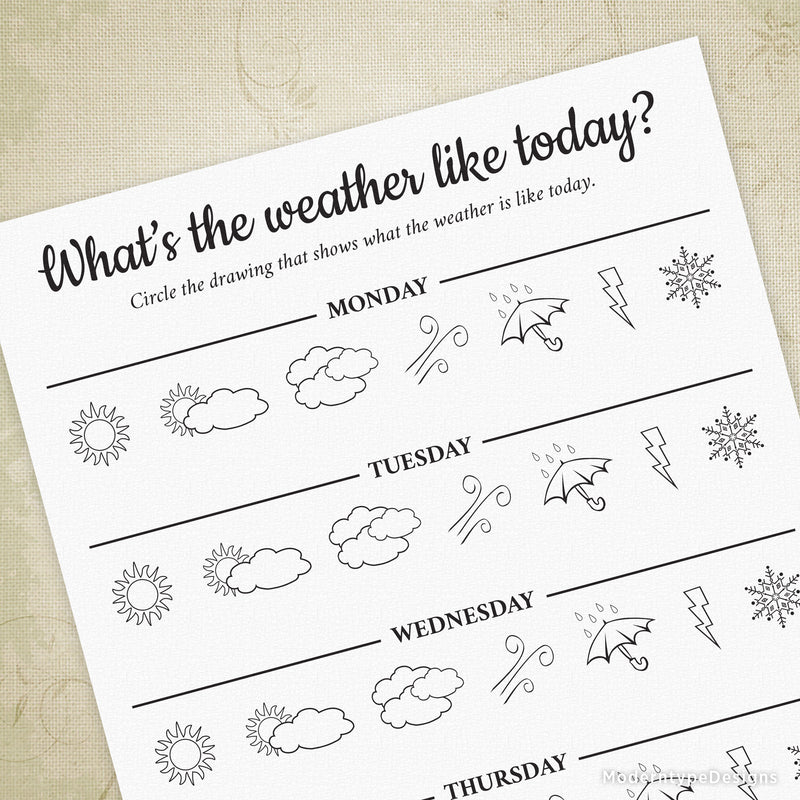What's The Weather Like Today? Printable - 5 Days