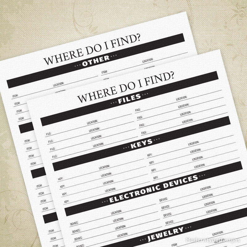 Where Do I Find? Printable - End of Life