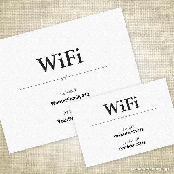 WiFi Network Editable Signs Printable (editable)
