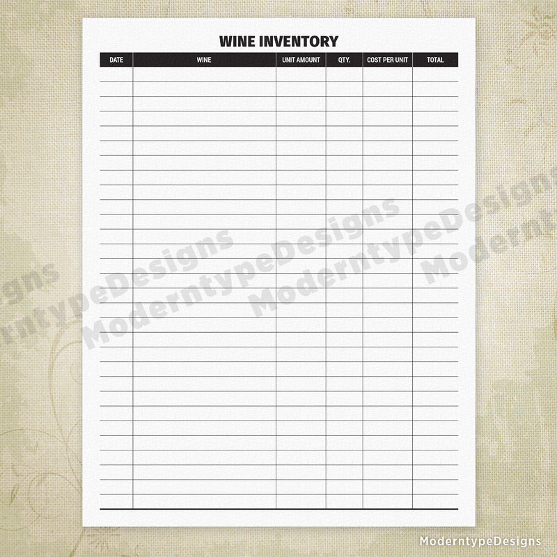 Wine Inventory Form Printable