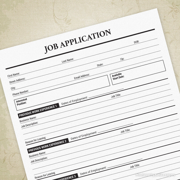 Job Application Printable