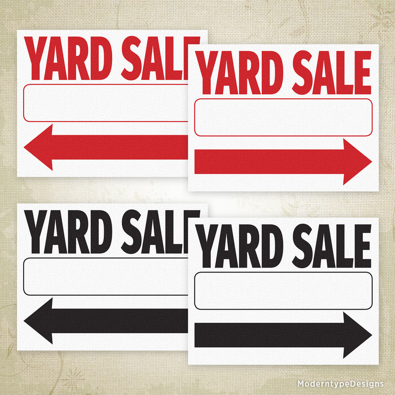Yard Sale Flyer Printable Sign (Left & Right Arrows)