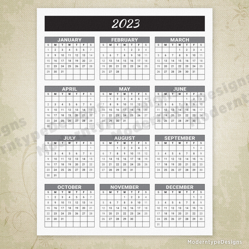 Yearly Printable Calendar Black Header with Grid