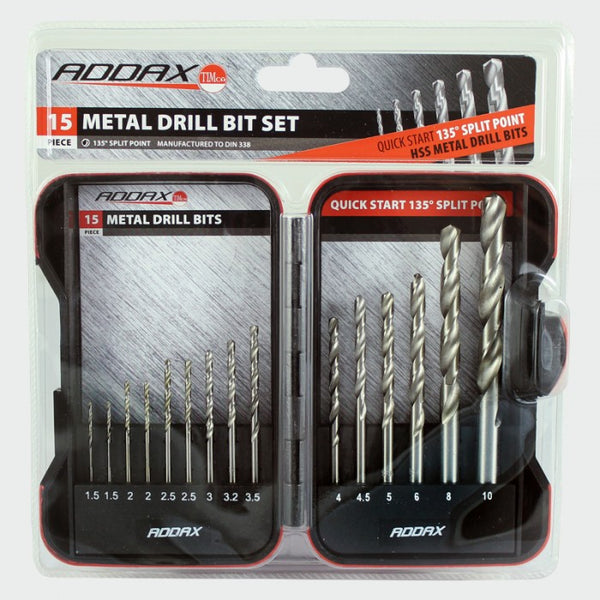 Addax HSS Milled Jobber Metal Bit Set 15pc