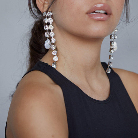 ARLI DROP CRYSTAL AND PEARL EARRINGS