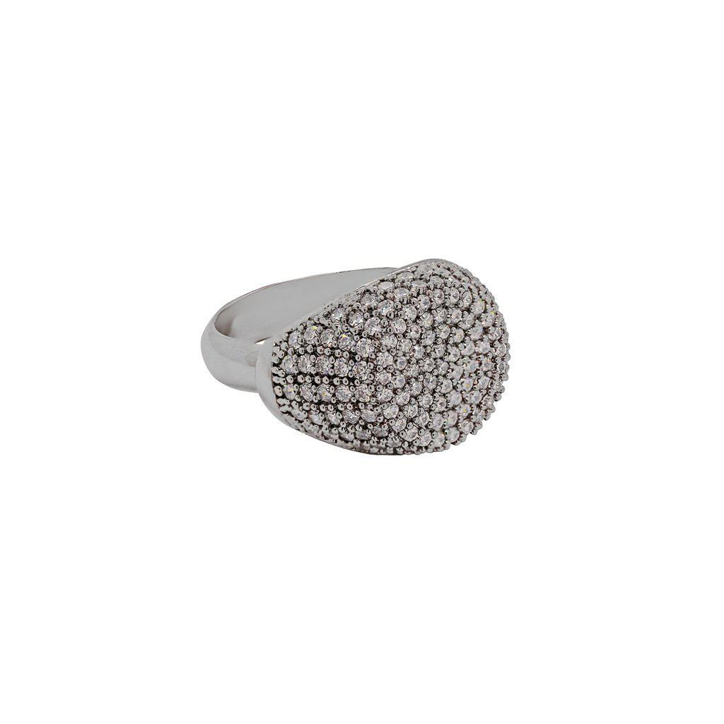 ABBEGAIL GUNMETAL PAVE CRYSTAL RING