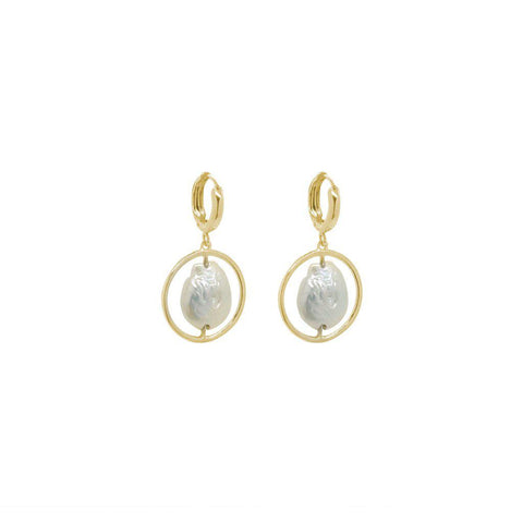 ADRA FRESHWATER PEARL GOLD EARRINGS