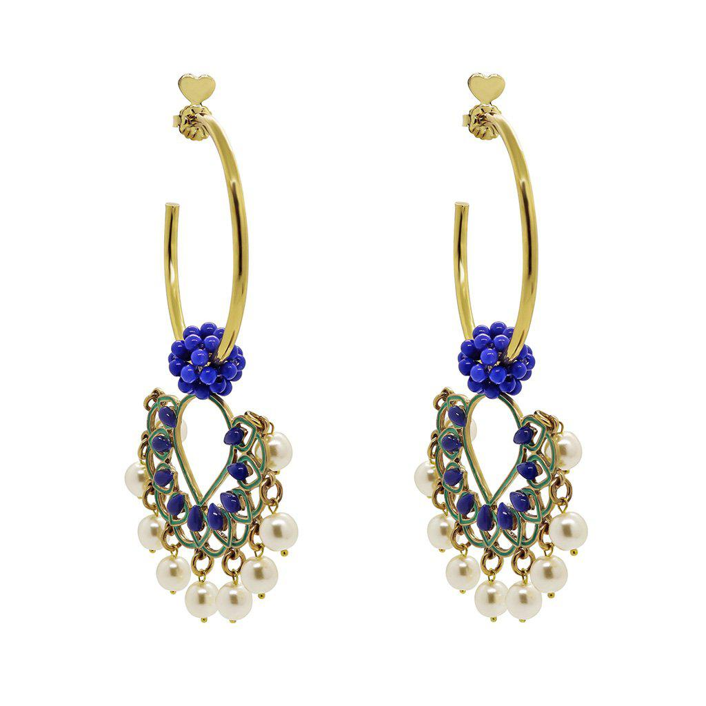AFTON PEARLS AND BLUE HOOP GOLD EARRINGS